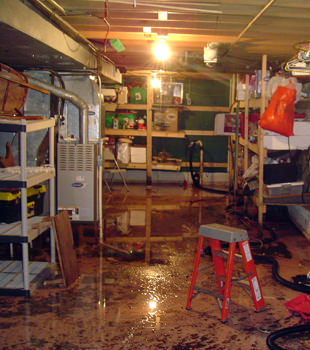a flooded home in Wilton