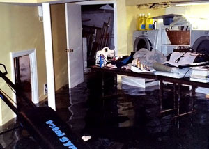 A laundry room flood in New Fairfield, with several feet of water flooded in.
